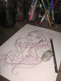 Sketch - custom gypsy tattoo design #Gypsy #TattooDesign #Skull