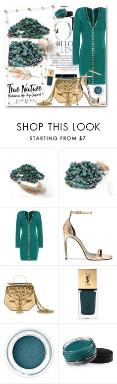 """True Nature Jewelry 4"" by fashionmonsters ❤ liked on Polyvore featuring Balmain, Yves Saint Laurent, Okhtein and Inglot"