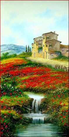 Art of Tuscany, Italy pieces) Pictures To Paint, Nature Pictures, Art Pictures, Photos, Watercolor Landscape, Landscape Art, Landscape Paintings, Watercolor Artists, Abstract Paintings