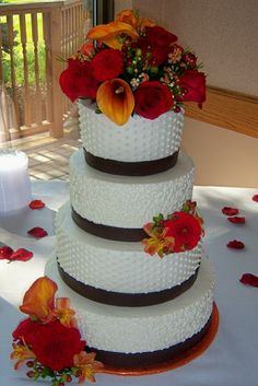 Image detail for -Fall Brown, Burgundy, Orange Wedding Cake