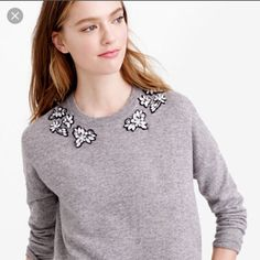 J crew embellished sweater J crew sweater in grey and pink the grey is a extra small and the pink is a small Both with tags! J. Crew Sweaters Crew & Scoop Necks