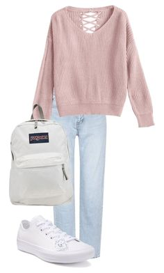"""Untitled #232"" by nadhyaa-meysha on Polyvore featuring Yves Saint Laurent, Converse and JanSport"
