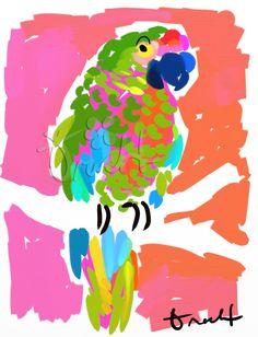 Key West Parrot Artwork: Beach Decor, Coastal Decor, Nautical Decor, Tropical Decor, Luxury Beach Cottage Decor