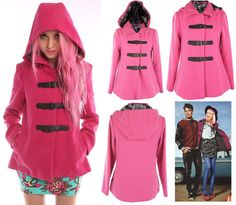 NEW -  	  Ladies Heads Up Pink Hooded Peacoat by Iron Fist