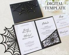 Wedding invitation template envelope Tri-Fold Ornamental for | Etsy