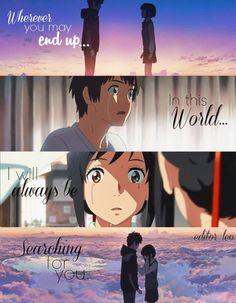 Kimi no na wa quotes Sad Anime Quotes, Manga Quotes, Anime Quotes About Friendship, Your Name Quotes, Mitsuha And Taki, Kimi No Na Wa Wallpaper, Tsurezure Children, Your Name Anime, Anime People