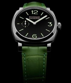 The @paneraiofficial Radiomir 1940 3 Days (PAM00574) with the hand-wound Caliber P.1000, shown in steel with striking green strap that is color-coordinated with the green Super-LumiNova on the sandwich dial. Read more at: http://www.watchtime.com/wristwatch-industry-news/watches/4-new-panerai-radiomir-1940-watches-debut-in-hong-kong/ #panerai #watchtime #menswatches #watchnerd