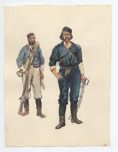New Zealand; Col. Von Tempski & Private of Forest Rangers 1863 by CCP Lawson