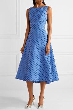 Lela Rose | Flocked silk-faille midi dress | NET-A-PORTER.COM