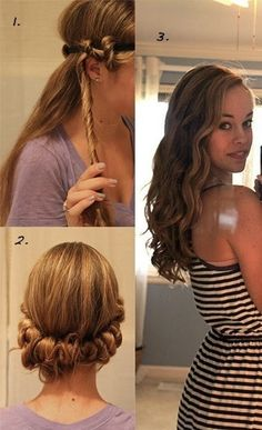 My new go to hair style! SO EASY!! I've done it the past two days and my hair looks awesome! Perfect for school mornings or days when you want to look nice but don't have the time to invest in your hair. Works great with second (or *cough* third *cough*) day hair. FINALLY a way to get curly hair and not damage my hair in the process! Now I match my family! :)