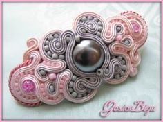 Hairclip pink and silver by GosiaBizu