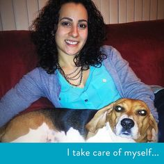 """""""I take care of myself by cuddling with my dog. She always seems to wash away my stress."""" #dog #doglovers #puppies #animallovers #selfcare #stress #stressrelief #love"""
