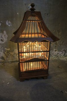 Vintage Wood Birdcage with wire string lights