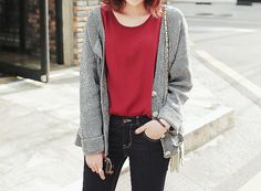 Lazy and cozy fall outfit with the grey cardigan, red tee, and dark pair of jeans.
