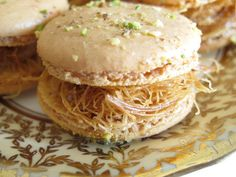 The kunafa macaroon - Pink Camel Macarons blend Arabic flavors in this classic French delicacy...try flavors like: Arabic coffee, dates, kunafa, rose, & halawa tahini. Other flavors incl. oreo, peanut butter & Jelly, cheesecake, and more!