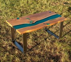 Live edge river oak coffee table with glowing resin fillin and image 0 Coffee Table To Dining Table, Wood Table, Reclaimed Wood Desk, Resin Table, Wood Creations, Wood Pieces, Living Furniture, Turquoise Stone, Custom Furniture