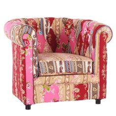 sillón estilo vintage estampado de patchwork #decoracion #sillon #estampado #print #flores