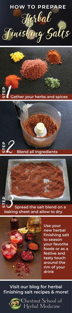 Recipes for Making Your Own Herbal Salt Blends // Chestnut School of Herbal Medicine  #herbalife #herbs #herbal #herbalist #herbalmedicine #herbgarden #DIYherb