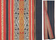Detail from a blanket, probably made by Rengao people from central Vietnam. Decorated with warp patterning and a narrow stripe of warp ikat (on the right in the photo). I am a particular admirer of warp patterning since it requires careful setup and a lot of discipline, and in the case of this blanket (made from a single 4-meter long strip, woven with a simple back-tensioned loom setup) probably several months of work. (http://www.toranatribal.com)