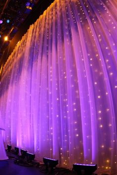 lights behind purple sheer curtains - Google Search