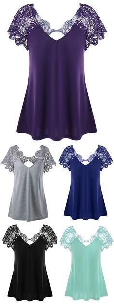 Plus Size Cutwork Lace Trim T-Shirt