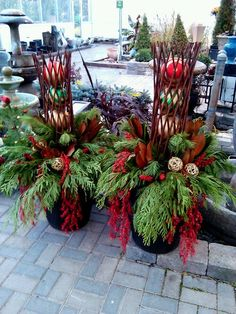 Decorating Front Porch Urns For Christmas Christmas Planter  Christmas Stuff  Pinterest  Christmas