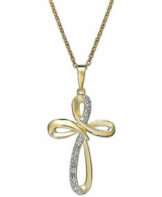 Diamond Necklace, 18k Gold over Sterling Silver Diamond Cross Pendant (1/10 ct. t.w.) #37.50 thru 4/16