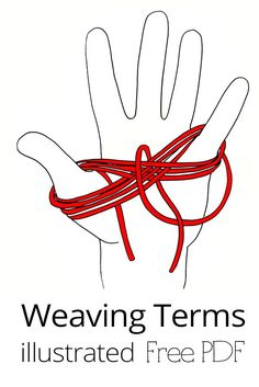 All the weaving terms you need to know in one place, download and keep it handy! Loom Knitting Patterns, Weaving Patterns, Knitting Stitches, Hand Knitting, Knitting Tutorials, Stitch Patterns, Loom Yarn, Loom Weaving, Hand Weaving