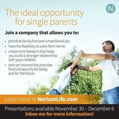 I know first hand how difficult it can being a single parent.  Nerium is a blessing❤️  Watch a webinar.  Msg me if this is for you.    Webinars are the top of every hour in your time zone.