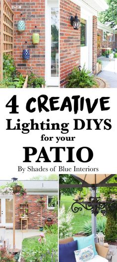 How to add extra lighting to your patio through 4 creative ways including a gazebo chandelier, wall light, solar light poles, and hanging lanterns.