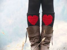 Red Black Short Heart Knit Boot Cuffs. Love Heart by EmofoFashion