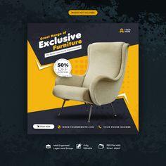 Furniture For Sale Social Media Post Or Banner Template Social Media Poster, Social Media Branding, Social Media Banner, Social Media Design, Banner Design Inspiration, Web Banner Design, Web Banners, Design Web, Layout Design