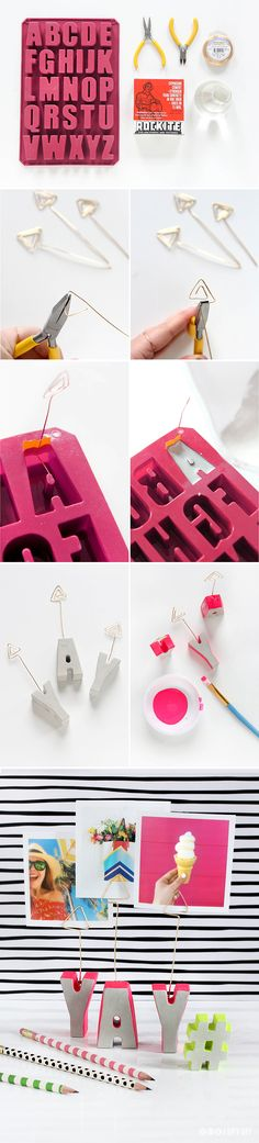 DIY Cement Letter Photo Holder Tutorial