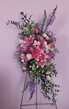 Pink  Purple Standing Spray, created at Harbourview Flowers in Thunder Bay, ON.