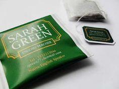 business card / tea bag