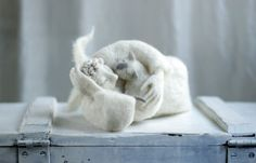 Needle Felt Angel - Dreamy Angel with A White Cat- Needle Felted - Art Doll