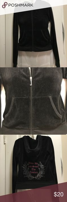 """Juicy velour zip up Black velour Juicy zip up with hood in Petite. """"Wake up and smell the Couture"""" on back. Worn, but still in good condition. It just says Petite on tag. I think it's an XS/S Juicy Couture Tops Sweatshirts & Hoodies"""
