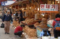 Gyeongdong Market in Seoul, Korea--notice the bondaegi sign!