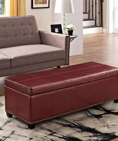 This Red Kingsley Leather Storage Ottoman is perfect! #zulilyfinds