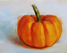 Watercolor Original Pumpkin Painting abstract still by CarlaLovato