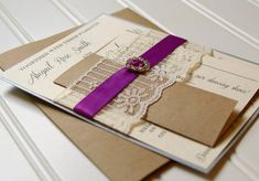 Rustic Elegant Wedding Invitations: Unique Handmade Lace, Ribbon and Rhinestone Invites- Custom Colors