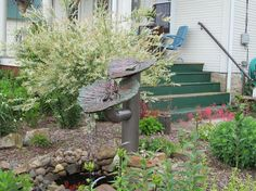 Hometalk :: Just wanted to share a photo of the Fountain I made using Rhurbarb lea…