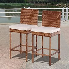 Costway Set Of 2 Patio Rattan Bar Stool Chair Steel (Silver) Frame Wicker Barstool W/Cushions, Patio Furniture
