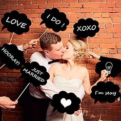 Blogger Set of 10pcs Wedding or Engagement Photo Booth Signs Photobooth Props Speech Bubbles on a Stick Bridal Shower Party Decoration(A)