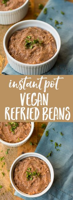 Creamy and SO much better tasting than the canned version, these vegan refried beans are made from scratch in the Instant Pot.
