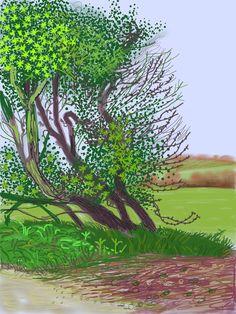 IPad art by David Hockney- The Arrival of Spring in Woldgate, East Yorkshire, in David Hockney Ipad, David Hockney Art, David Hockney Paintings, Ipad Art, Robert Rauschenberg, Musée Guggenheim Bilbao, Landscape Art, Landscape Paintings, David Hockney Landscapes