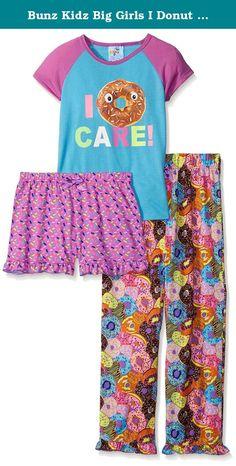 0be8675357 Bunz Kidz Big Girls I Donut Care 3 Piece Spring Sleepwear Set