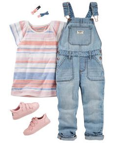 I love this top, but never overalls for her! Undoing the clasps would be nearly impossible for her and the fit would be all wrong since she's so short. Toddler Girl Style, Toddler Girl Outfits, Toddler Fashion, Kids Outfits, Kids Fashion, Toddler Hair, Toddler Girls, Carters Baby Clothes, Trendy Baby Boy Clothes