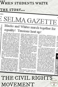Extra! Extra! Students become investigative reports into the Civil Rights Movement in this engaging, inquiry-based newspaper activity. Can your students make the deadline?