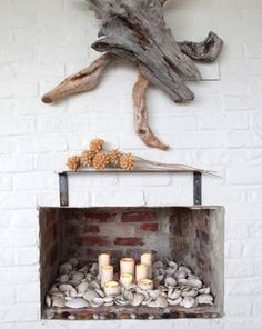 Shells in a non-functional fireplace.